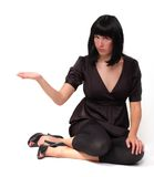 Business woman with opened palm Stock Photo