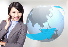 Business woman operator with globe Stock Photos