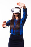 Business woman organize workflow by virtual reality. VR headset glasses device on white white isolated background Royalty Free Stock Photos