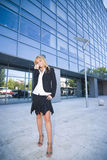 Business woman ouside office building Stock Images