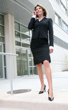 Business Woman Outdoors on Cell Phone Stock Image