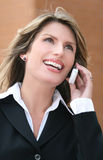 Business Woman Outdoors on Cell Phone Stock Images