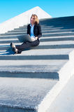 Business woman outside with laptop, vertical Stock Photos
