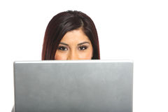 A business woman over around her laptop Stock Image