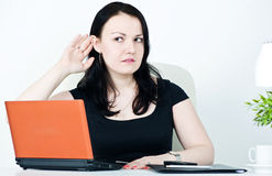 Business woman overhearing Stock Image