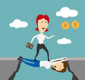 Business woman overstepping colleague for goal. Woman manager overstep colleague to achieve money goals or career success. Business metaphor of doing elbow work Royalty Free Stock Image