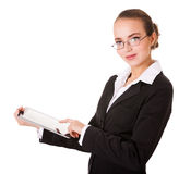 Business woman with pad Stock Images