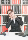 Business woman with pain in her neck Royalty Free Stock Photography