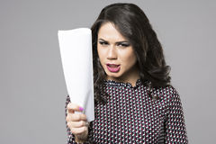 Business woman with a paper in hand. Isolated on gray Stock Photography