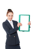 Business woman and paper records Royalty Free Stock Photos