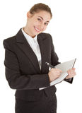 Business woman with papers Stock Photo