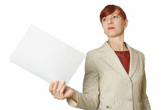 The business woman with papers. Royalty Free Stock Images