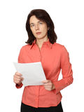 The business woman with papers. Business of lady transfers documents and closely looks. A white background Stock Photos