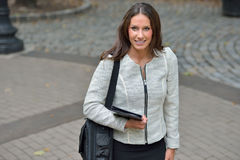 Business woman in park Royalty Free Stock Photos