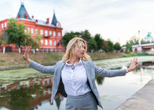 Business woman in the park Royalty Free Stock Photography