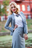 Business woman in the park Royalty Free Stock Photo