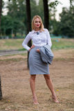 Business woman in the park Stock Photo