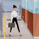 Business woman pass the passport control Stock Photos