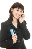 Business woman paying with credit card Stock Photo