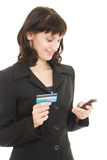 Business woman paying with credit card Royalty Free Stock Images