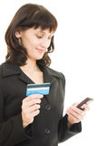 Business woman paying with credit card Stock Image