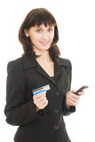 Business woman paying with credit card Royalty Free Stock Photos