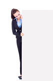 Business woman peeking Royalty Free Stock Image
