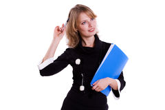Business woman with pen. Royalty Free Stock Photo