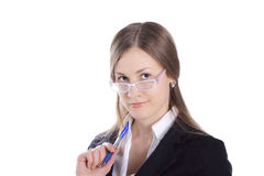 Business Woman With Pen Royalty Free Stock Images