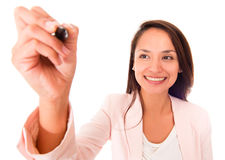 Business woman with a pen Royalty Free Stock Photos
