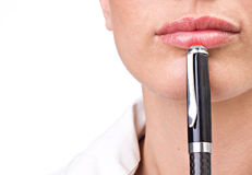 Business woman with pen Stock Images
