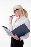 Business woman with pen isolated Stock Photography