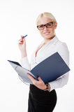 Business woman with pen isolated Royalty Free Stock Image