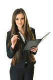 Business Woman with Pen. Business woman with a portfolio and pen looking up Stock Photography