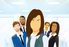 Business Woman People Group Leader Diverse Team. Vector Illustration Stock Photography