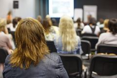 Business woman and people Listening on The Conference. Horizontal Image. Stock Photography
