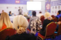 Business woman and people Listening on The Conference. Horizontal Image Stock Images