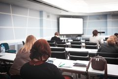 Business woman and people Listening on the conference or on the training in the hall.  stock images