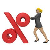 Business woman with the percentage symbol Royalty Free Stock Photo