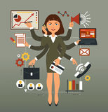 Business woman. Performs many leadership roles royalty free illustration