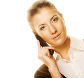 Business woman with a phone Stock Photography