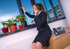 Business woman with phone Royalty Free Stock Images