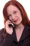 Business woman on phone. Business woman on white series: Mobile Communication Royalty Free Stock Image