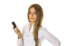 Business woman with phone Stock Images