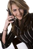 Business woman on the phone. Beautiful woman  wearing businesss wear and talking on the phone Stock Photography