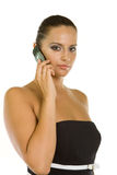 Business Woman on the phone. Beautiful business woman is using mobile telephone Royalty Free Stock Image