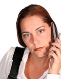 Business Woman on Phone. Isolated Business Woman on Phone royalty free stock photo
