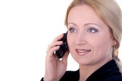Business woman on the phone. Attractive business woman talking on the telephone Stock Image