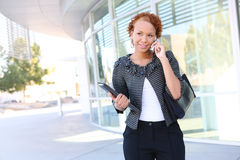 Business Woman on Phone Stock Photo