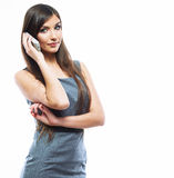 Business woman phone call,  white background portrait. Royalty Free Stock Images